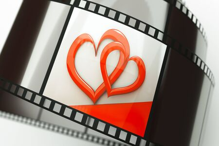 a film reel with hearts background on it photo