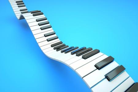 piano: een piano toetsenbord golven op blauw Stockfoto