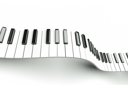 a grand piano: a piano keyboard waves on white