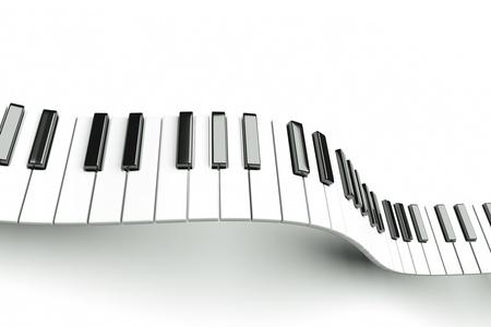 grand piano: un oleaje de teclado de piano sobre fondo blanco