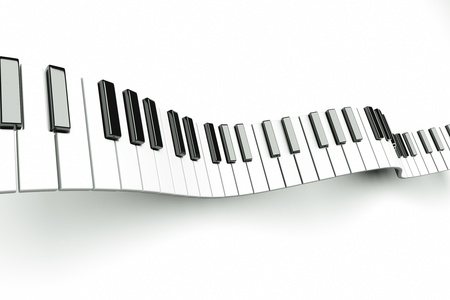 musical instrument parts: a piano keyboard waves on white