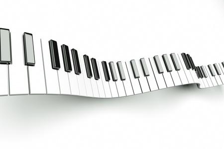 piano closeup: a piano keyboard waves on white