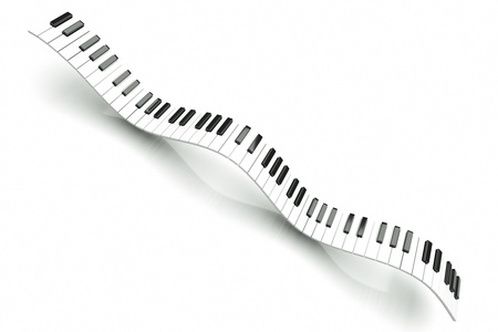 grand piano: a piano keyboard waves on white