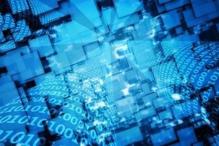 codigo binario: un código binario de fondo azul Foto de archivo