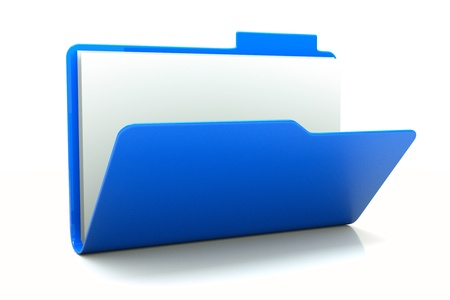 a  open blue folder isolated on white, folder icon photo