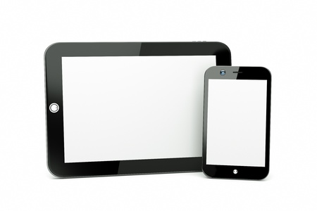 mobile advertising: a tablet pc with modern cellphone isolated on white