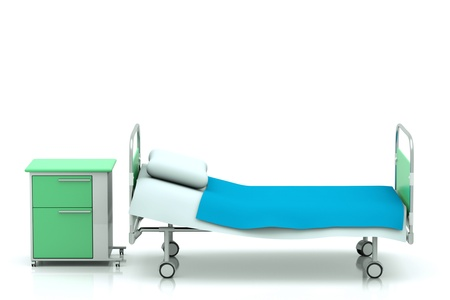 hospital bed: a hospital bed isolated on white