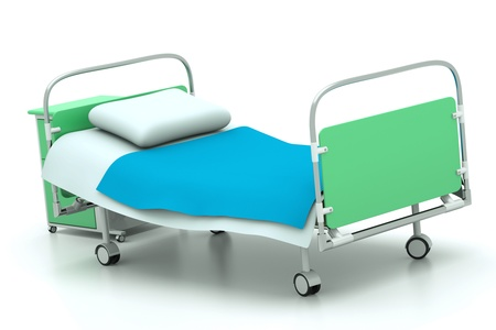 sanitarium: a hospital bed isolated on white