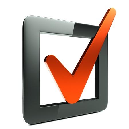 stimme: eine Checkbox-Symbol auf wei�em Hintergrund