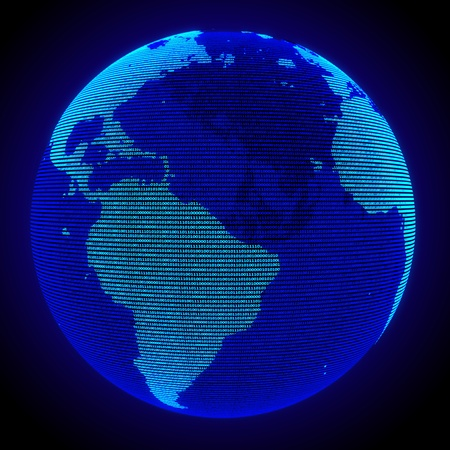 a digital earth concept, a blue binary codes background photo