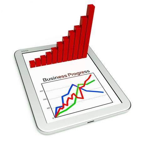 graphics: un Tablet PC y el diagrama de negocio como un concepto de proceso de desarrollo de negocios