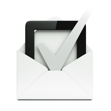 voting paper: a single mail with checkbox button ioslated on white