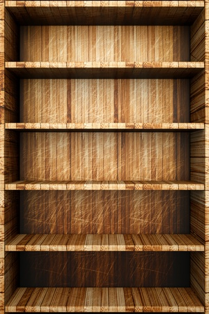 compartments: a wooden bookcase with empty bookshelfs