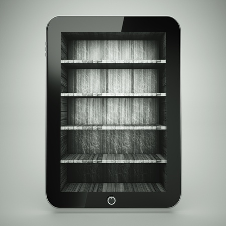 Bookcase: a tablet computer with wooden bookcase on screen