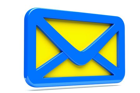 a single mail icon, creative envelope isolated  on white photo