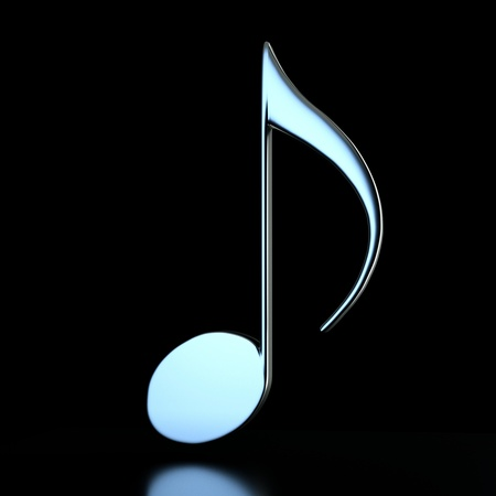 a single music note on black photo