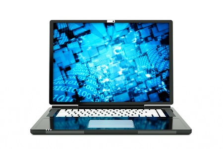 a laptop with technology background on screen Stock Photo - 12711697