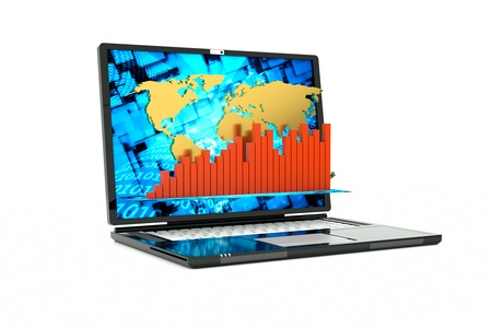 a laptop with technology background on screen Stock Photo - 12711694