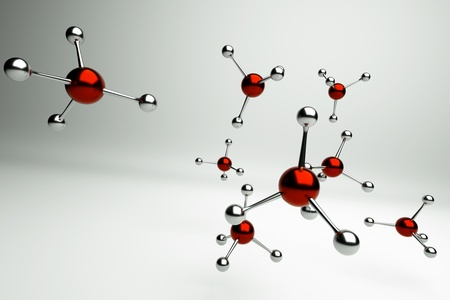 a molecules on grey photo