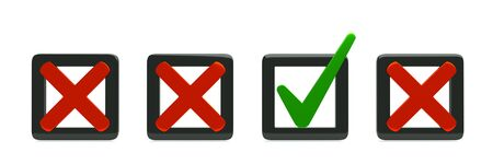 approved icon: a checkbox icons isolated on white Stock Photo