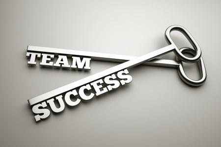 """단어 """"팀""""과 """"성공"""", 비즈니스 개념 키"""