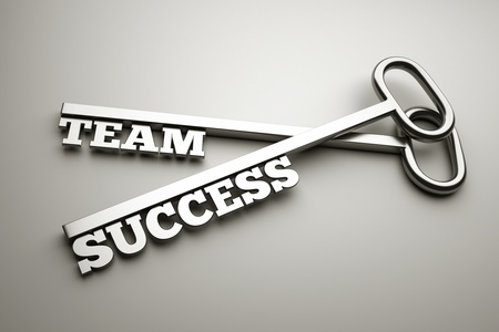 a keys with words team and success, business concept