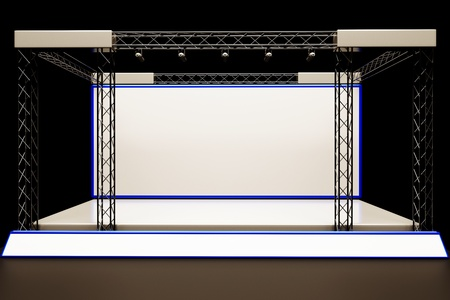concert stage: a center stage with metal frame, put your object in promotion screens