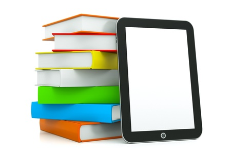 a tablet pc with books isolated on white as a education concept photo