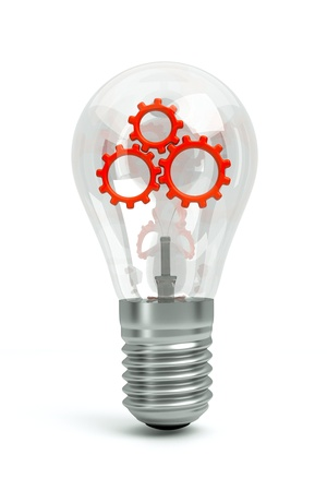 a transparent bulb with a red gears inside isolated on white as a symbol of brain working
