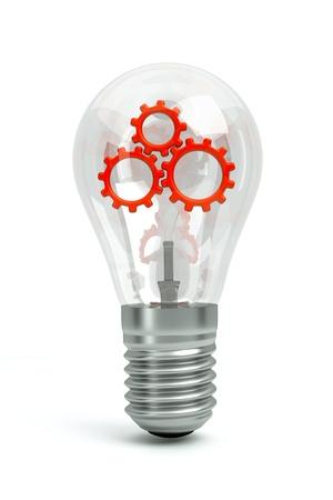 vorschlag: eine transparente Lampe mit einem roten Zahnräder im Inneren auf weißem als Symbol des Gehirns arbeiten isoliert