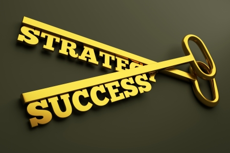 key to success: a keys with words strategy and success, business concept