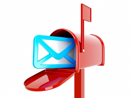 incoming: a 3d render of mailbox with envelop icon inside isilated on white Stock Photo