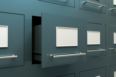 document management: a drawer cabinets as a background