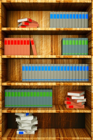 a bookshelf with books photo