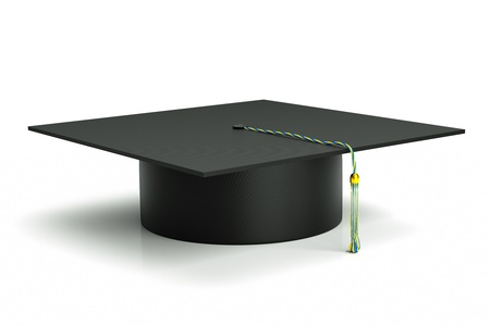 credential: a graduation hat isolated on white