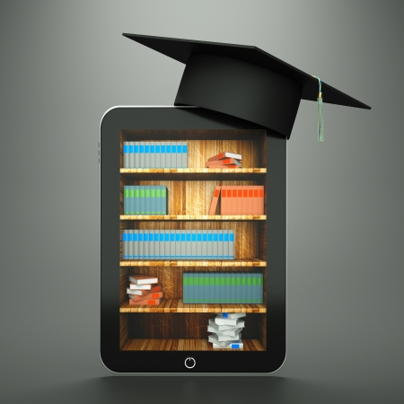 a tablet computer with graduation hat and bookcase on screen as a education concept