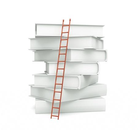 escaleras: un par de libros blancos con escaleras aislado en blanco Foto de archivo