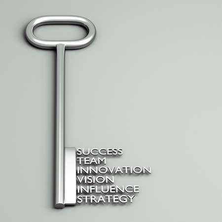 a key with words, business concept photo