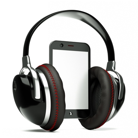 podcast: a creative cellphone with headphones isolated on white, portable audio concept