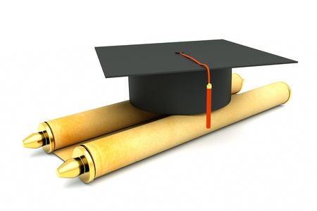 a graduation cap with scroll isolated on white photo