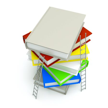 lots: a color books with ladders  isolated on white Stock Photo