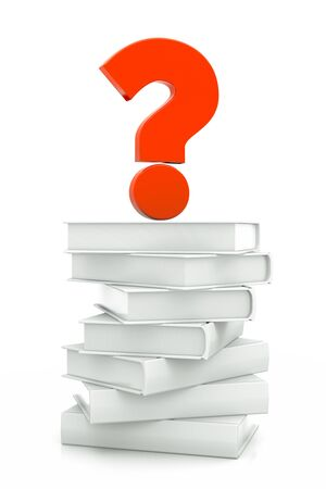 a white books with question sign isolated on white