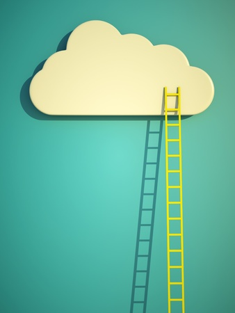 wooden stairs: a competition concept, cloud with ladders on blue