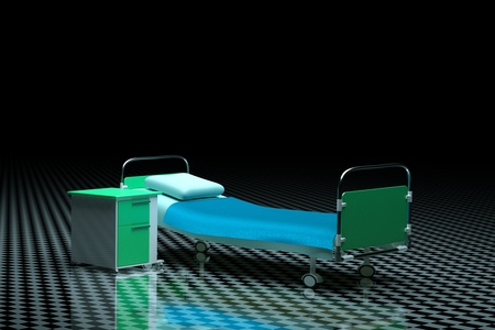 bedside table: a hospital bed with bedside table in a darkness
