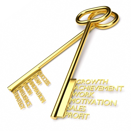 key words: a two golden keys with words isolated on white, business concept Stock Photo