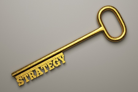 a  golden key with word isolated on white, business concept