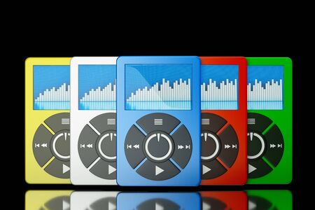 tactile: a set of mp3 players on black