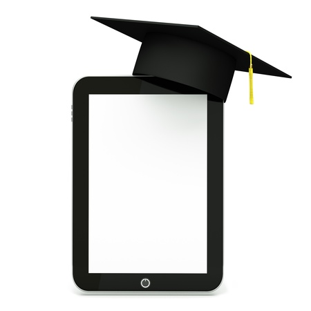 a tablet computer with graduation hat  isolated on white as a education concept
