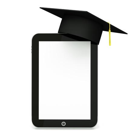graduacion de universidad: un equipo Tablet PC con el sombrero de la graduación aislado en blanco como un concepto de educación