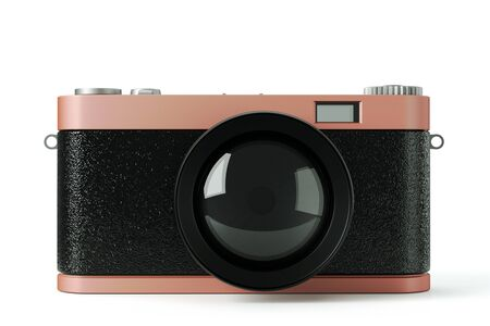 a 3d render of photo camera on white  photo